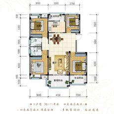 御湖花园135㎡四房户型户型图