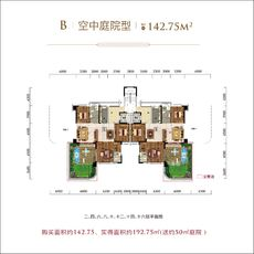 太子湖国际社区B空中庭院型户型图