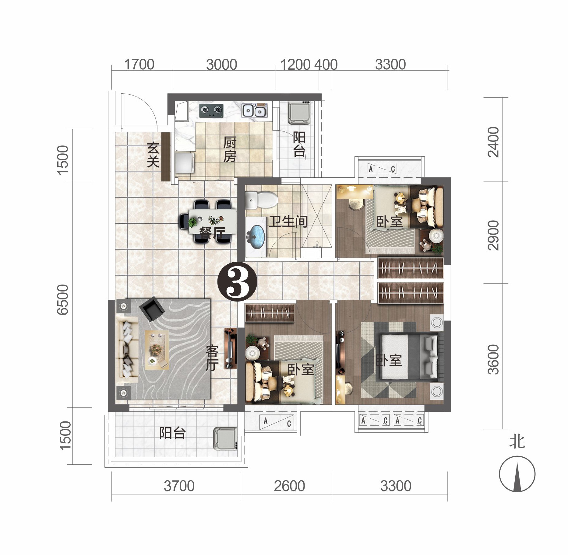 恒大城-11#楼建面约102.6㎡户型