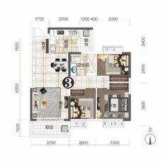 恒大城11#楼建面约102.6㎡户型图