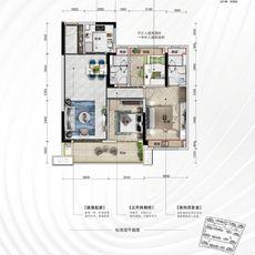 天门碧桂园星悦湖建面约110㎡三房户型户型图