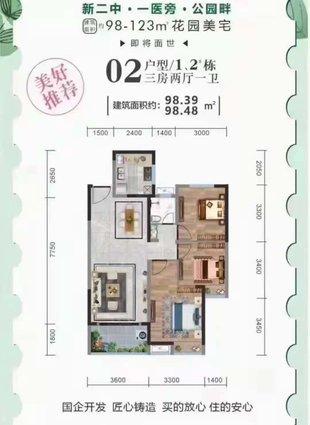 城南正中心,对口新二中二小,楼层可选 ,均价6500
