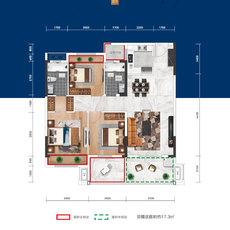 益宏·澴公元1/2/5#楼B户型户型图