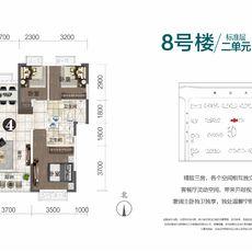 恒大城8#樓二單元戶型圖