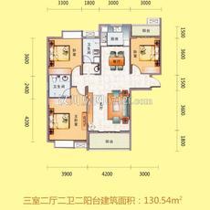 文化世纪城二期三室两厅两卫两阳台户型图