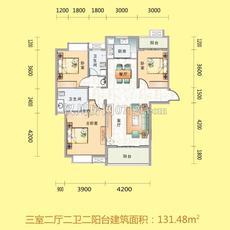 文化世纪城二期三室两厅两卫双阳台户型图