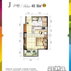 仙桃城市广场J户型户型图