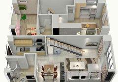 汉海国际loft公寓 2室2厅2卫 50.7平米x2(双层)