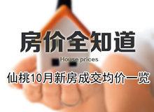 房价全知道 仙桃10月新房成交价格一览