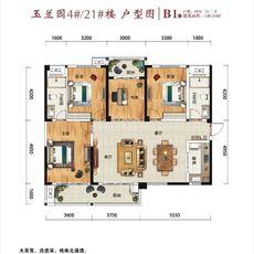 冠南汇侨城玉兰苑B1户型148.53㎡户型图