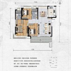 保利香颂3#楼125㎡户型户型图