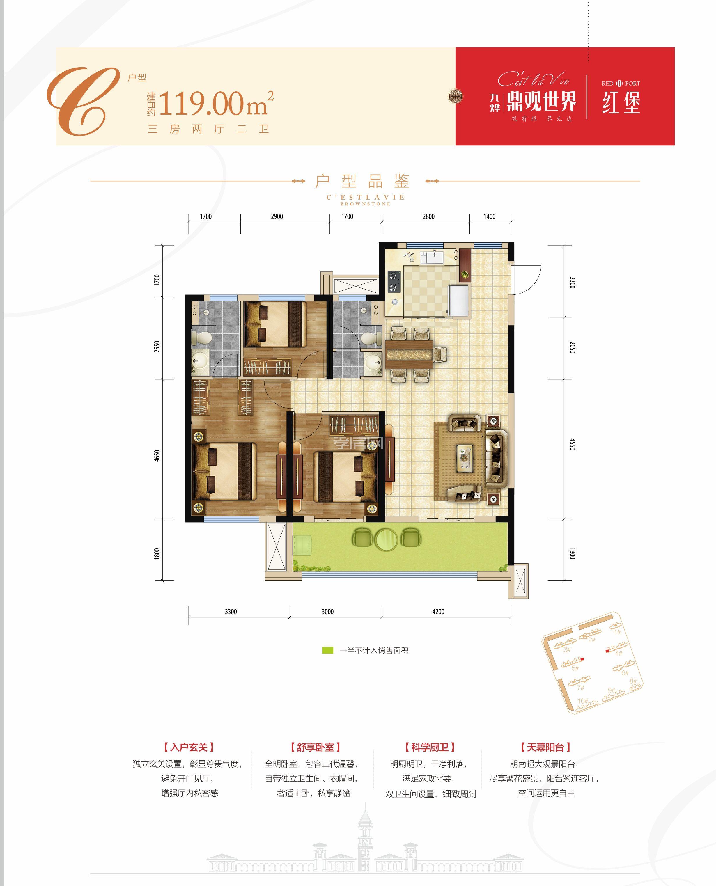九烨·鼎观世界三期红堡-4/5#楼C户型户型