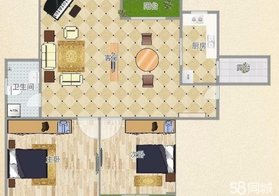 云梦城区 凤凰小区 毛坯 两室两厅 户型方正好设计