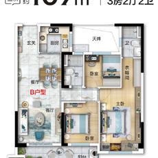 碧桂园·左岸新都107户型户型图