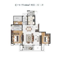 新城玺樾G2/G12#C户型户型图