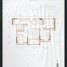 悦湖世家6#楼B户型户型图