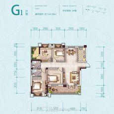 鑫龍·中央公園5#樓G1戶型戶型圖