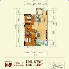 博大·君悦湾D6/D11 B户型户型图