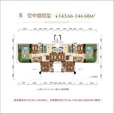 太子湖國際社區B空中庭院型戶型圖