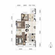 恒大城11#楼建面约107.77㎡户型图