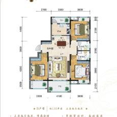 御湖花园135㎡三房户型户型图
