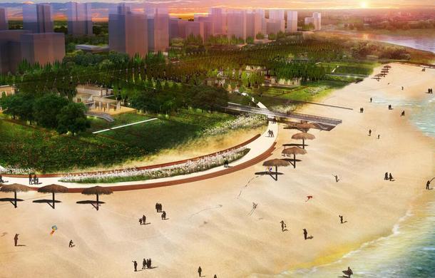仙(xian)桃江灘公園一期明(ming)年底(di)完工,五彩花田、文化雕塑、還有陽光沙灘....