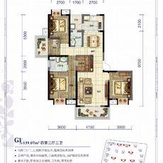 天門·卓爾生活城G1戶型139.07㎡戶型圖