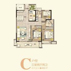滔古·清枫院1/4#楼C户型户型图