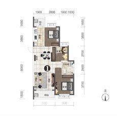 恒大城11#楼建面约106.56㎡户型图