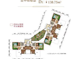 太子湖国际社区D1 D2'空中街巷型户型图